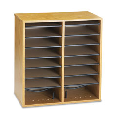 Safco - wood/laminate literature/cd sorter, 16 section, 19 1/2 x 11 3/4 x 20, medium oak, sold as 1 ea