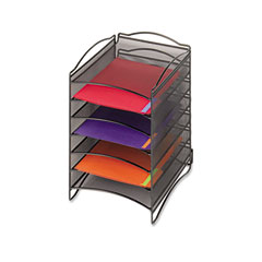 Safco - onyx steel mesh lliterature sorter, six compartments, black, sold as 1 ea