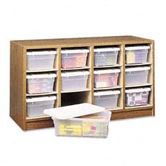 Safco - modular wood/plastic 12-bin supplies organizer, 34 x 13 x 19, medium oak/clear, sold as 1 ea