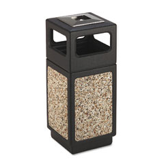 Safco 9470NC Canmeleon Ash/Trash Receptacle, Square, Aggregate/Polyethylene, 15 Gal, Black