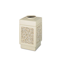 Safco 9471TN Canmeleon Top-Open Receptacle, Square, Aggregate/Polyethylene, 38 Gal, Tan