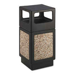 Safco 9472NC Canmeleon Side-Open Receptacle, Square, Aggregate/Polyethylene, 38 Gal, Black