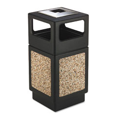 Safco - canmeleon ash/trash receptacle, square, aggregate/polyethylene, 38 gal, black, sold as 1 ea