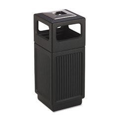 Safco 9474BL Canmeleon Ash/Trash Receptacle, Square, Polyethylene, 15 Gal, Textured Black