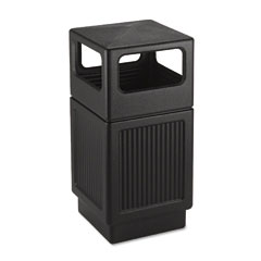 Safco 9476BL Canmeleon Side-Open Receptacle, Square, Polyethylene, 38 Gal, Textured Black