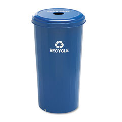 Safco - tall recycling receptacle for cans, round, steel, 20 gal, recycling blue, sold as 1 ea