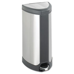 Safco - step-on waste receptacle, triangular, stainless steel, 10 gal, chrome/black, sold as 1 ea