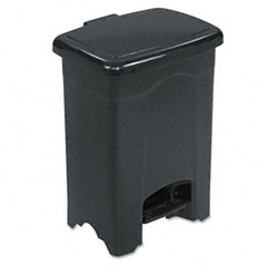 Step-On Receptacle, Rectangular, Plastic, 4 gal, Black