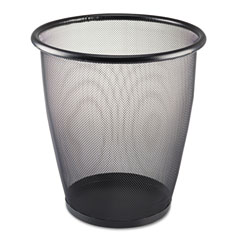 Safco 9717BL Onyx Round Mesh Wastebasket, Steel Mesh, 5 Gal, Black
