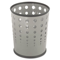 Bubble Wastebasket, Round, Steel, 6 gal, Gray