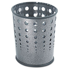 Bubble Wastebasket, Round, Steel, 6 gal, Black Speckle