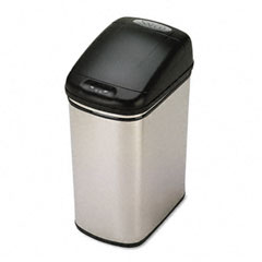 Safco SAF9761SS Kazaam Motion-Activated Receptacle, Rectangular, 8.4 gal, Stainless Steel/Black