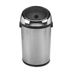 Safco SAF9763SS Kazaam Motion-Activated Receptacle, Round, 17 gal, Stainless Steel/Black
