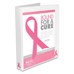 "Samsill 10050 Breast Cancer Awareness View Binder, 1"" Capacity, White"