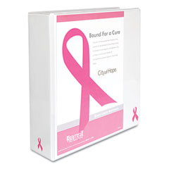 "Samsill 10056 Breast Cancer Awareness View Binder, 3"" Capacity, White"