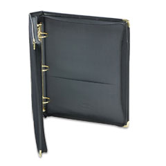Samsill - classic collection zippered ring binder, 11 x 8-1/2, 1-1/2-inch capacity, black, sold as 1 ea