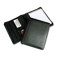 "Samsill 15540 Leather Multi-Ring Zippered Portfolio, Two-Part, 1"" Cap, 11 X 13-1/2, Black"