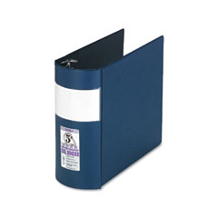 Samsill - top performance dxl locking d-ring binder with label holder, 5-inch cap, dark blue, sold as 1 ea
