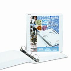 Samsill - clean touch locking round ring view binder, 3-inch capacity, white, sold as 1 ea