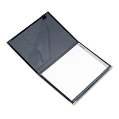 Samsill 70010 Pad Holder, Leather Look W/Brass Corners, Writing Pad, Pockets, Black