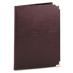 Samsill 70014 Pad Holder, Leather Look W/Brass Corners, Writing Pad, Pockets, Burgundy