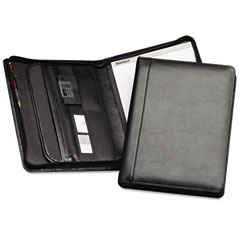 Samsill 70730 Leather Zipper Padfolio W/Writing Pad, Organizer Slots, Black