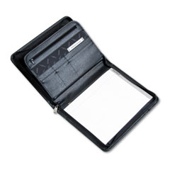 Samsill 70820 Professional Zippered Pad Holder, Pockets/Slots, Writing Pad, Black