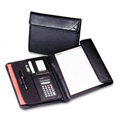 Samsill - professional tri-fold padfolio w/calculator, writing pad, vinyl, black, sold as 1 ea