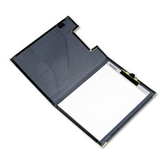 Samsill 71010 Pad Holder, Leather-Look W/Brass Corners Pockets, Black