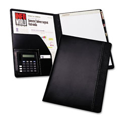 Samsill 71220 Pad Holder W/Calculator, Leather-Look/Faux Reptile Trim, Writing Pad, Black