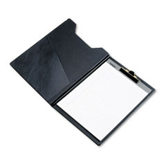 Samsill - pad holder, heavyweight sealed vinyl, brass clip, inside front pocket, black, sold as 1 ea