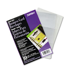 Samsill - business card binder refill pages, six 2 x 3 1/2 cards per page, clear, 10 pages, sold as 1 pk