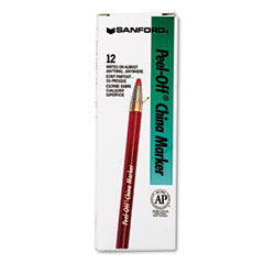 Sharpie - peel-off china markers, red, dozen, sold as 1 dz