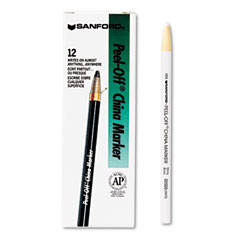 Sharpie - peel-off china markers, white, dozen, sold as 1 dz