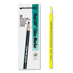 Sharpie - peel-off china markers, yellow, dozen, sold as 1 dz