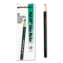 Sharpie - peel-off china markers, black, dozen, sold as 1 dz
