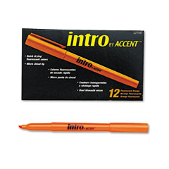 Papermate 22706 Intro Highlighters, Chisel Tip, Fluorescent Orange, 12/Pk