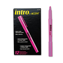 Papermate 22709 Intro Highlighters, Chisel Tip, Fluorescent Pink, 12/Pk
