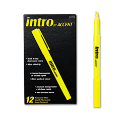 Papermate 22725 Intro Highlighters, Chisel Tip, Fluorescent Yellow, 12/Pk