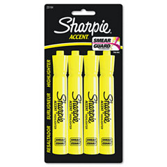 Sharpie accent - accent tank style highlighter, chisel tip, fluorescent yellow, 4/set, sold as 1 pk