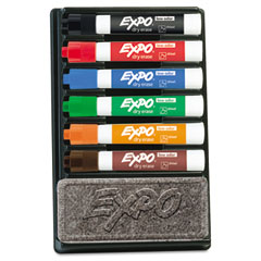 Expo - dry erase marker & organizer kit, chisel tip, assorted, 6/set, sold as 1 st