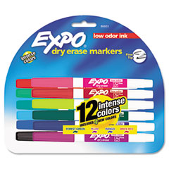 Expo - low odor dry erase markers, fine point, assorted, 12/set, sold as 1 st