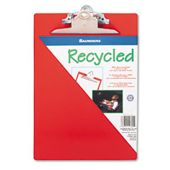 "Saunders 21601 Plastic Antimicrobial Clipboard, 1"" Capacity, Holds 8-1/2W X 12H, Red"