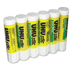 Saunders 99830 Uhu Stic Permanent Clear Application Glue Stick, .74 Oz, 6/Pack