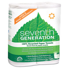 Seventh generation - 100% recycled paper towel rolls with right size sheets, we,140 sheets/roll, 2/pk, sold as 1 pk