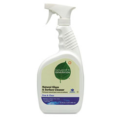 SEV 22713 Free & Clear Natural Glass & Surface Cleaner, 32 Oz. Trigger Bottle
