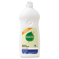SEV 22733 Natural Dishwashing Liquid, Free & Clear, 25 Oz. Bottle