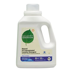 SEV 22769 Free And Clear Natural 2X Concentrate Laundry Liquid, Unscented, 50 Oz. Bottle
