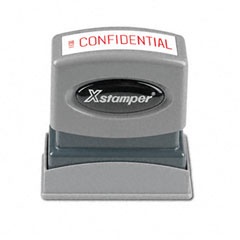Shachihata SHA1130 Title Message Stamp, CONFIDENTIAL, Pre-Inked/Re-Inkable, Red