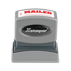 Shachihata SHA1218 Title Message Stamp, MAILED, Pre-Inked/Re-Inkable, Red